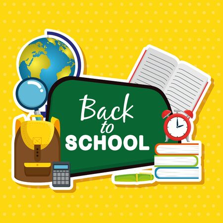 blackboard with backpack and notebook with magnifying glass to back to school vector illustration Ilustração
