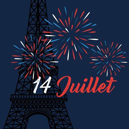 fireworks with eiffel tower to bastille celebration on 14th july vector illustration Ilustracja