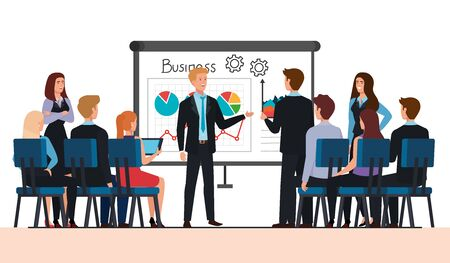 meeting of business people with infographic vector illustration design Foto de archivo - 140205394