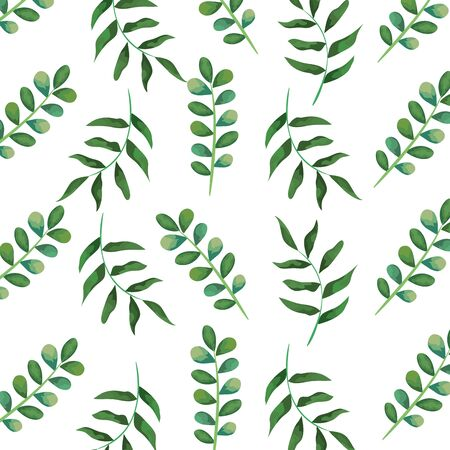 branch with leaves plants pattern background vector illustration design