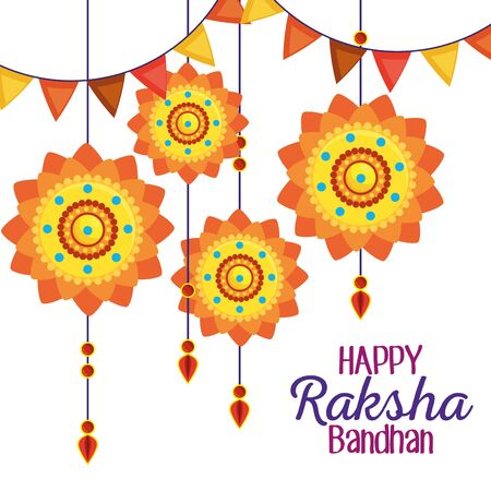 traditional flowers hanging and party banner decoration to raksha bandhan, vector illustration Иллюстрация
