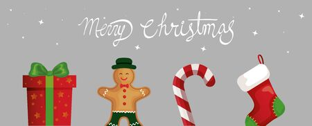 merry christmas poster with set decoration vector illustration design Ilustração