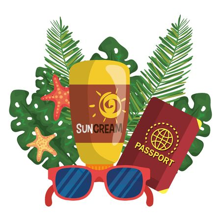 suncream with passport and sunglasses with starfishes and leaves plants to summer time vector illustration