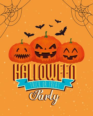 poster party of happy halloween with pumpkins vector illustration design Ilustração