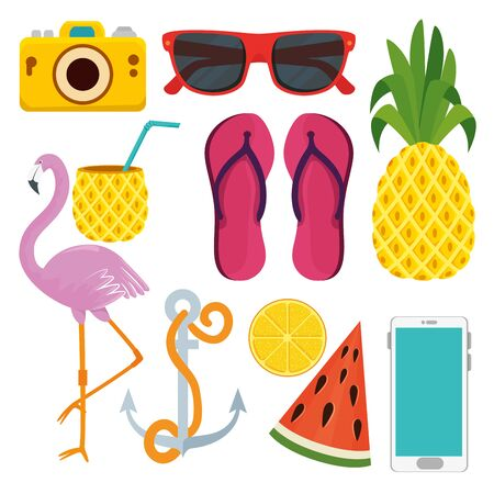 set of summer season of holiday vacation vector illustration