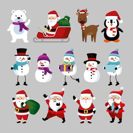 bundle christmas with santa claus and set characters vector illustration design Illusztráció