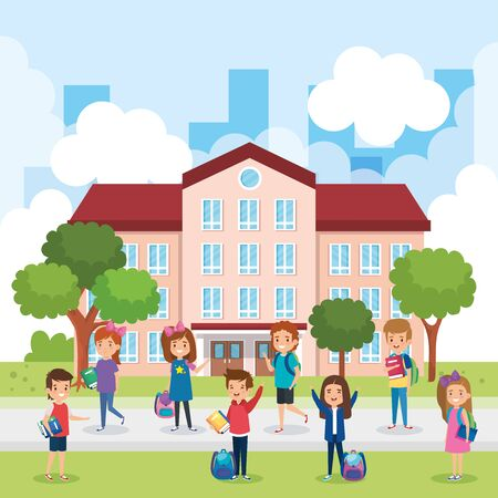 girls and boys students with books and backpack in the school vector illustration Ilustracja
