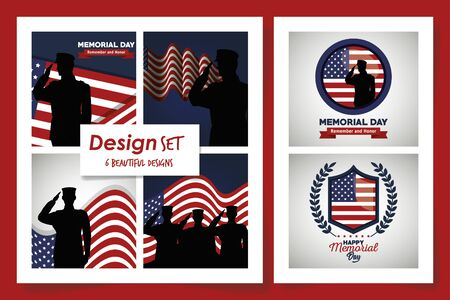 set of six designs happy memorial day vector illustration design