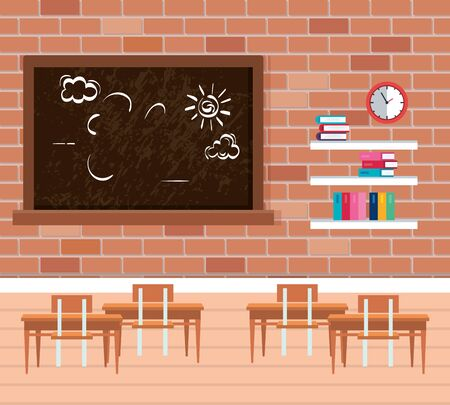 shelf wooden and chalkboard in school classroom vector illustration design