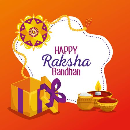 label of flower bracelet with present and candle with food to raksha bandhan, vector illustration