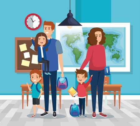 father and mother with girl and boys students with desks in the classroom vector illustration