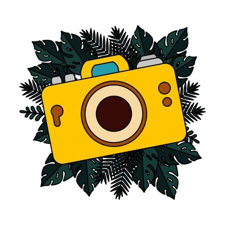 summer camera photographic and tropical leaves frame vector illustration design Иллюстрация