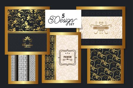 five designs of victorian elegance frames vector illustration design  イラスト・ベクター素材