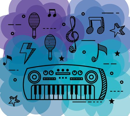piano instrument with maracas and musical notes to music style vector illustration Ilustração