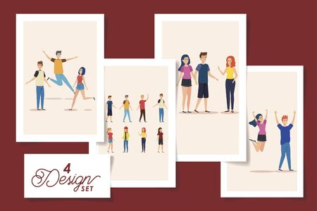 set of four designs teenager group celebrating vector illustration design