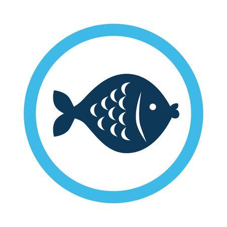 cute fish in frame circular vector illustration design  イラスト・ベクター素材