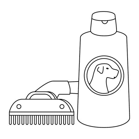 comb pet with dog care bottle isolated icon vector illustration design