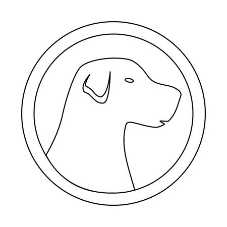 silhouette of face dog in frame circular isolated icon vector illustration design