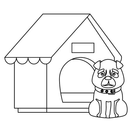 dog with house wooden isolated icon vector illustration design Illustration
