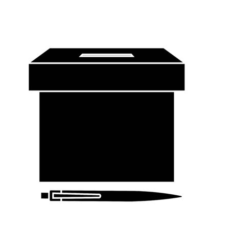 silhouette of ballot box with pen vector illustration design Ilustracja
