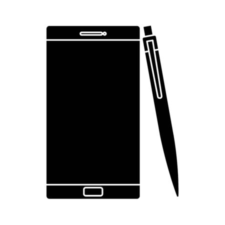 silhouette of smartphone with pen isolated icon vector illustration design Stock Illustratie