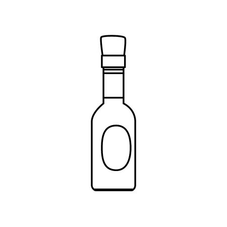 delicious sauce in bottle line style icon vector illustration design