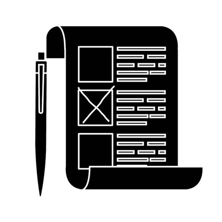 silhouette of vote form with pen isolated icon vector illustration design Stock Illustratie