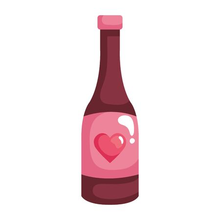 bottle of wine with heart isolated icon vector illustration design