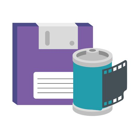roll camera with floppy of nineties retro isolated icon vector illustration design