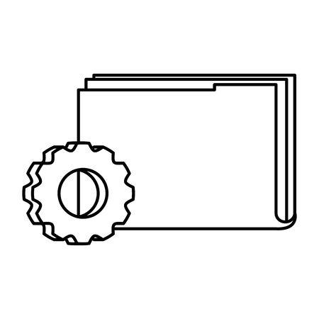 File and gear design, Document data archive storage organize business office and information theme Vector illustration Ilustração