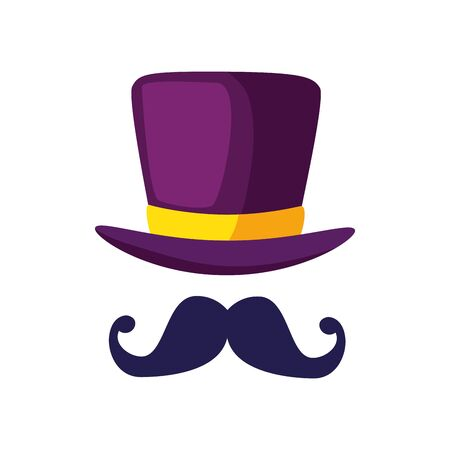 Hat and mustache design, Cloth costume accessory decoration uniform object season and traditional theme Vector illustration