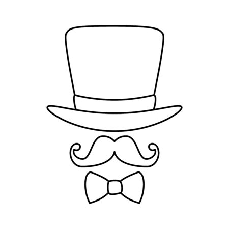 Hat mustache and bowtie design, Cloth costume accessory decoration uniform object season and traditional theme Vector illustration  イラスト・ベクター素材