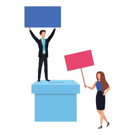business couple with ballot box isolated icon vector illustration design Ilustração