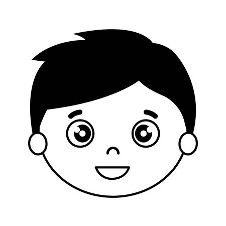 silhouette of head of boy on white background vector illustration design