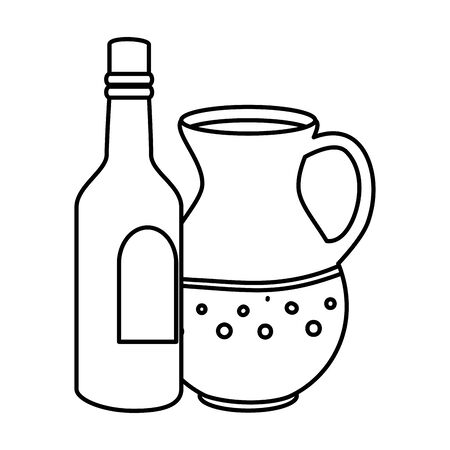 bottle of wine with teapot line style icon vector illustration design