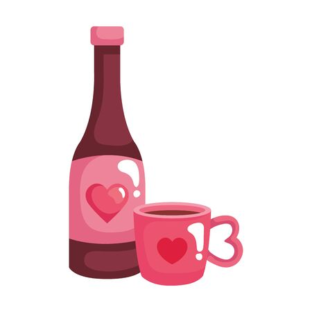 cup coffee with bottle wine isolated icon vector illustration design Ilustracja