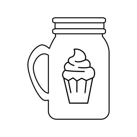 mug with cupcake isolated icon vector illustration design Ilustracja