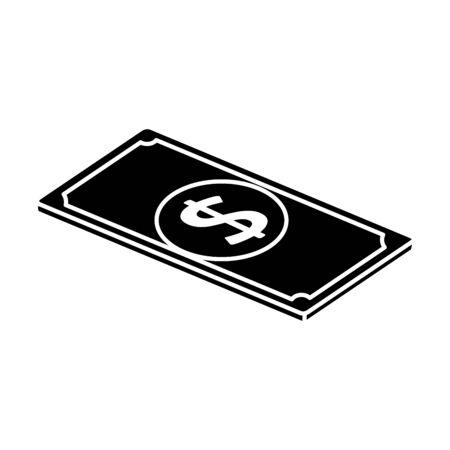 silhouette of bill money cash isolated icon vector illustration design