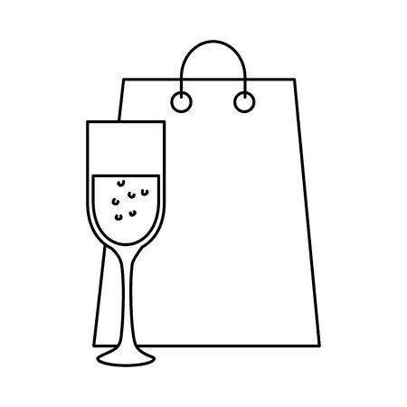 silhouette of cup of glass and bag shopping vector illustration design