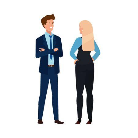 business couple elegant avatar character vector illustration design Foto de archivo - 140203634