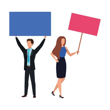 business couple with protest placard isolated icon vector illustration design Ilustração