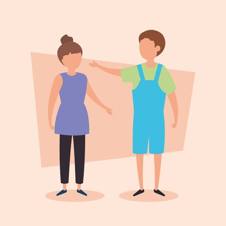 cute couple kids avatar characters vector illustration design