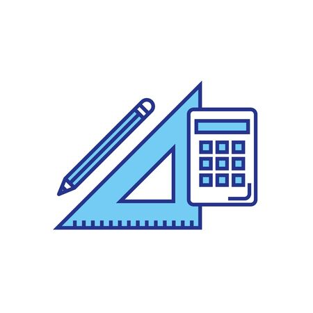 Calculator ruler and pencil design, Tool mathematics finance device electronic education and office theme Vector illustration 向量圖像