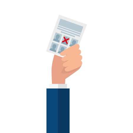 Hand holding vote paper design, President election government campaign voting politician independence political and united theme Vector illustration