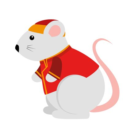 cute rodent rat with chinese clothes vector illustration design