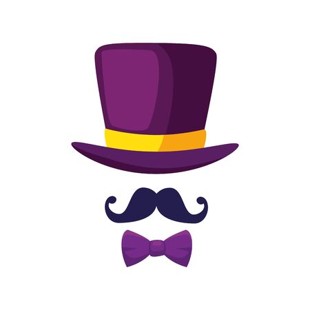 Hat mustache and bowtie design, Cloth costume accessory decoration uniform object season and traditional theme Vector illustration Illusztráció