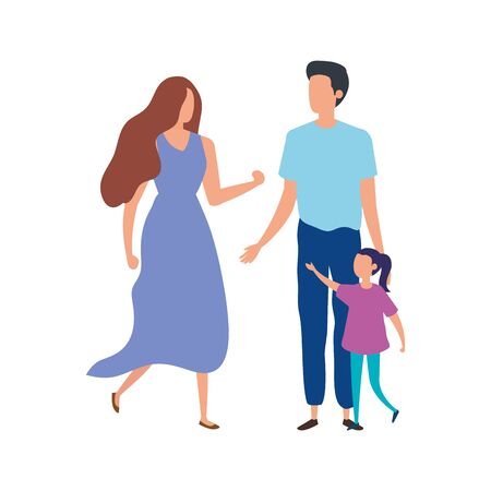 parents with daughter avatar characters vector illustration design