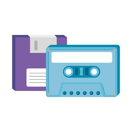 floppy with cassette of nineties retro style vector illustration design Ilustrace