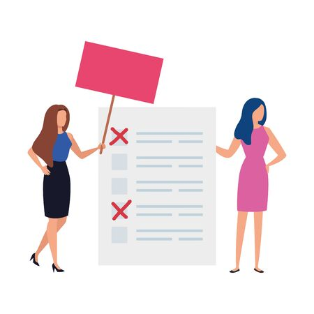 business women with vote form isolated icon vector illustration design