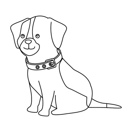 cute dog animal line style icon vector illustration design 免版税图像 - 140215824